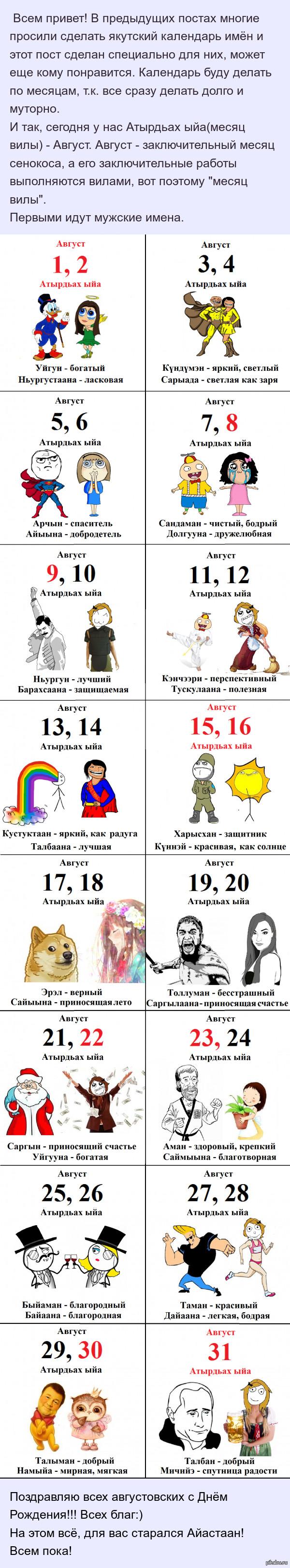 Якутский календарь имен. Август Имена по дате и их значения