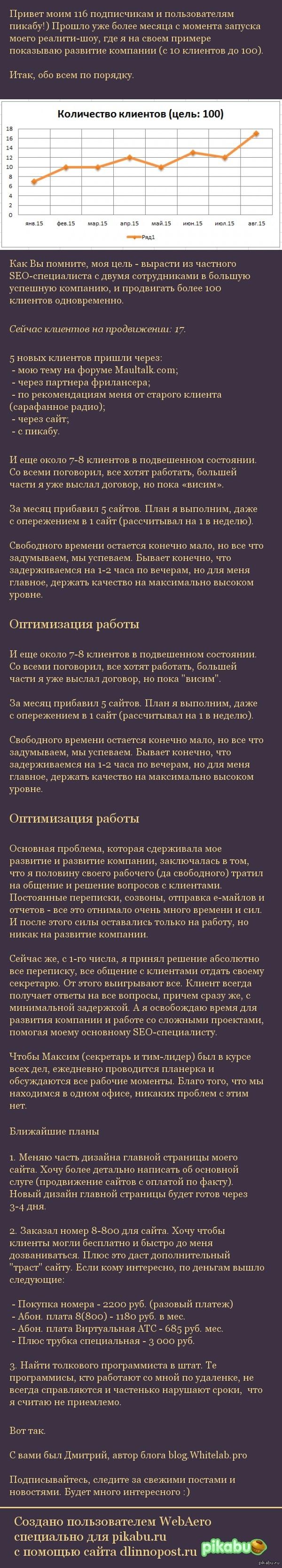 Отчет за Август 2015, подведение итогов В рамках проекта «Создание Компании в «Прямом Эфире» — Моя история» #10
