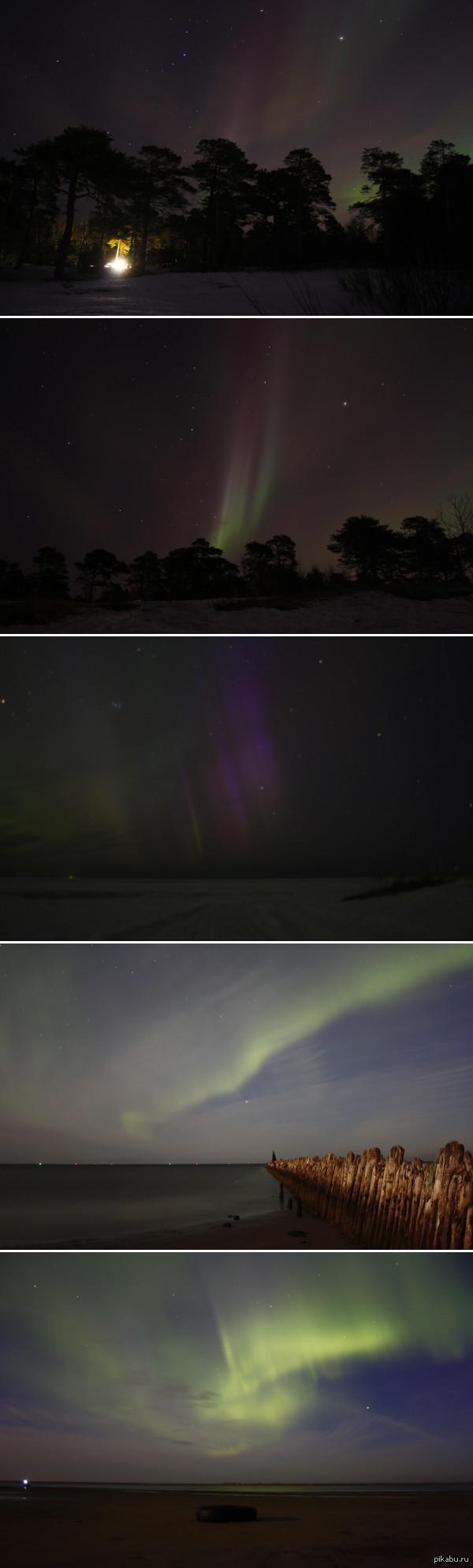 Северное сияние Март и Август 2015г. Северодвинск. Берег Белого