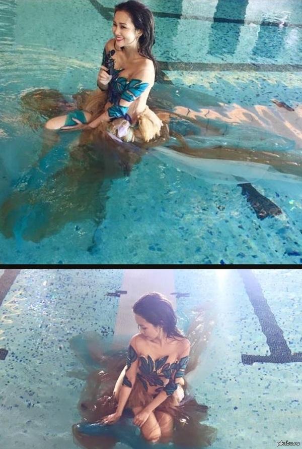 Одна девушка и куча мужиков в бассейне фото 329-191