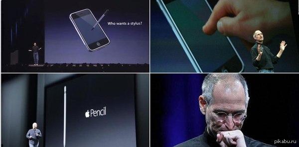 """Стив Джобс на презентации первого iPhone говорил: """"Зачем нам стилусы?"""" 2015, Apple представляет новый iPad PRO и iPencil (стилус)"""