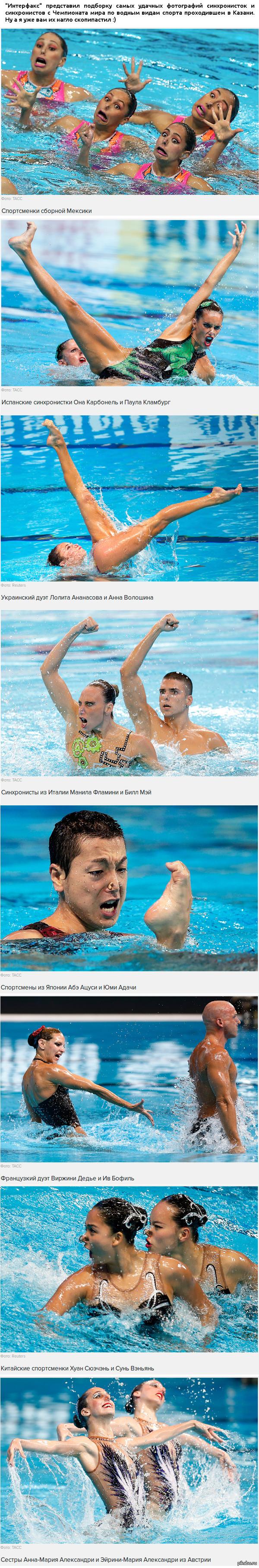 Синхронистки и синхронисты за работой :) Забавные фото с Чемпионата мира по водным видам спорта.  Внимание: 3622 пикселя!