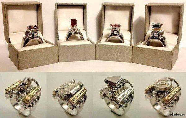 Перстни в виде миниатюрных двигателей