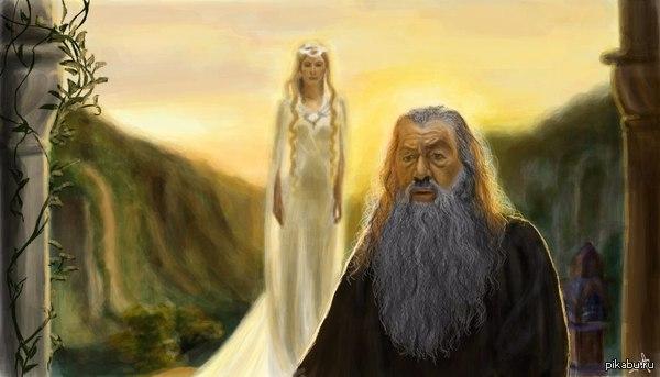 Арт. Гендальф и Галадриэль. Рисовала подружка, так что ставлю моё.