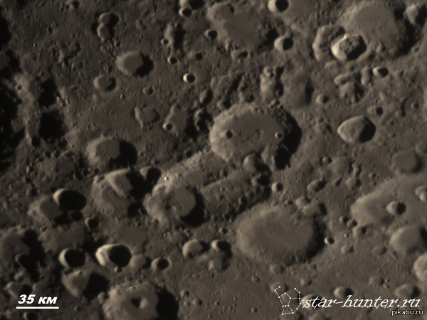 Окрестности лунного кратера Лицет (диаметр 75 км). 21 сентября 2015, 19:41, телескоп Celestron NexStar 8 SE, линза Барлоу 2х с Т-адаптером, камера ZWO 120 MC. Место съемки: Краснодар, балкон.