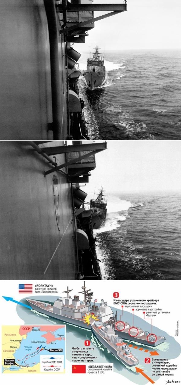 """""""Красный таран"""" или """"стальные яйца"""" советского флота. Атака СКР «Беззаветный» американского крейсера «Йорктаун» возле мыса Сарыч в 1988"""