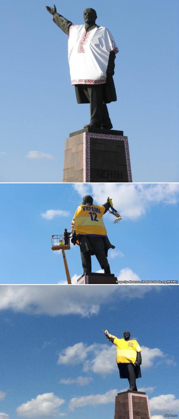 Ленин в Запорожье Вот так и спасается дедушка Ленин.