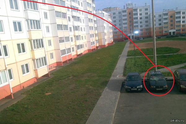 Метатель. В ночь с 15 на 16 ноября два кочана капусты, выброшенные предположительно из окна дома повредили автомобиль Фольксваген. На фото - схема по версии журналистов
