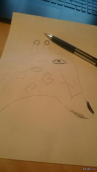 "Странно , но мои рисунки не путают с фотошопом ...   (жираф , шариковая ручка ) В продолжении <a href=""http://pikabu.ru/story/moy_risunok_zhirafyi_i_ostatki_quotzhirafovyikhquot_karandashey_3806369."">http://pikabu.ru/story/_3806369</a>"