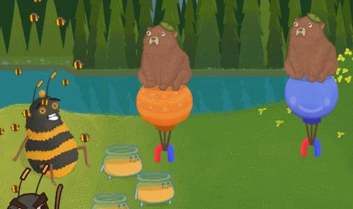 Когда не хочешь делиться мёдом Гифка, Пчелы, Мед, Медведь