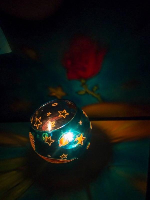 """Подсвечник """"Маленький принц"""" моё, Подсвечник, роспись по стеклу, Витражная роспись, Маленький принц, Роза, длиннопост"""