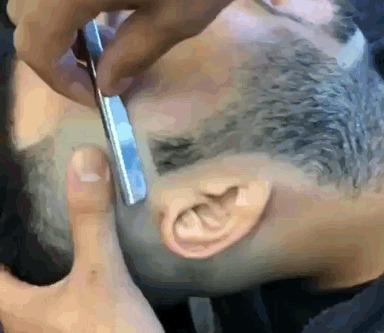 Острая бритва и мастер своего дела Бритва, Опасная бритва, Мастер, Парикмахер, Гифка
