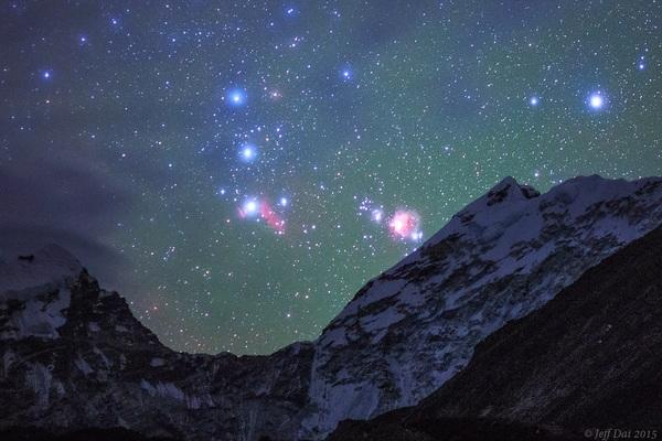 Созвездие Ориона над Гималаями! Гималаи, Созвездие ориона, Космос, Deep space, Jeff Dai