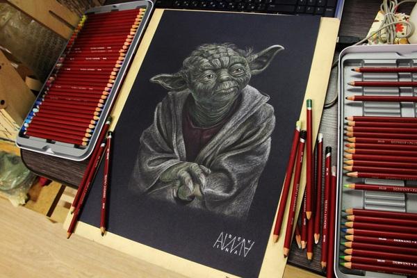 """Фан-арт по """"Звездным войнам"""" Star Wars, Йода, Джедаи, Арт, Рисунок, Пастельные карандаши, Фан-Арт, Длиннопост"""