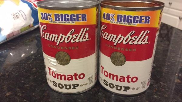 Эти банки супа имеют тот же размер, но ходят слухи, что одна больше.