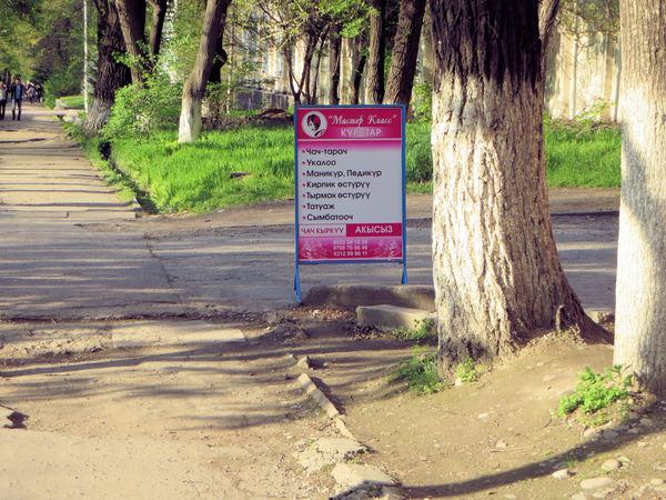 Рекламный щит в Бишкеке. Для тек, кто не знает киргизский язык, звучит забавно.