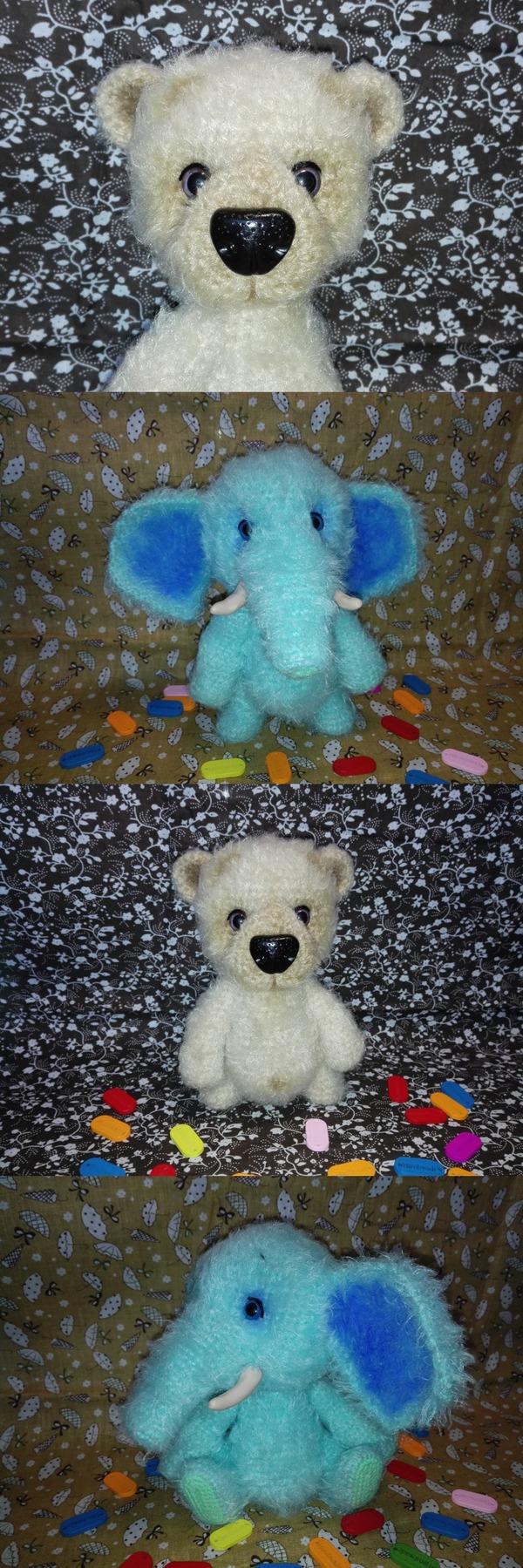 Пятничное моё. Мишка Василий и мамонтенок Георгий. амигуруми, амигуруми вязание, мишка тедди, мамонтенок, пушистый, вязаные игрушки, вязание крючком, хобби, длиннопост