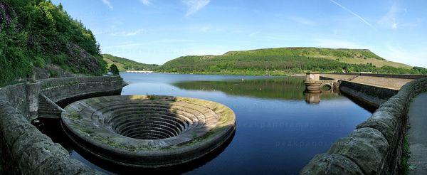 Водохранилище Ледибауэр, его водосброс и вид изнутри. Англия, Водохранилище, Воронка, Водосток, Длиннопост