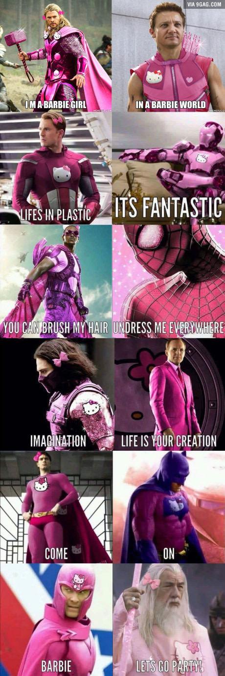 Споем? Marvel, Aqua, Песня, Barbie girl, 9gag