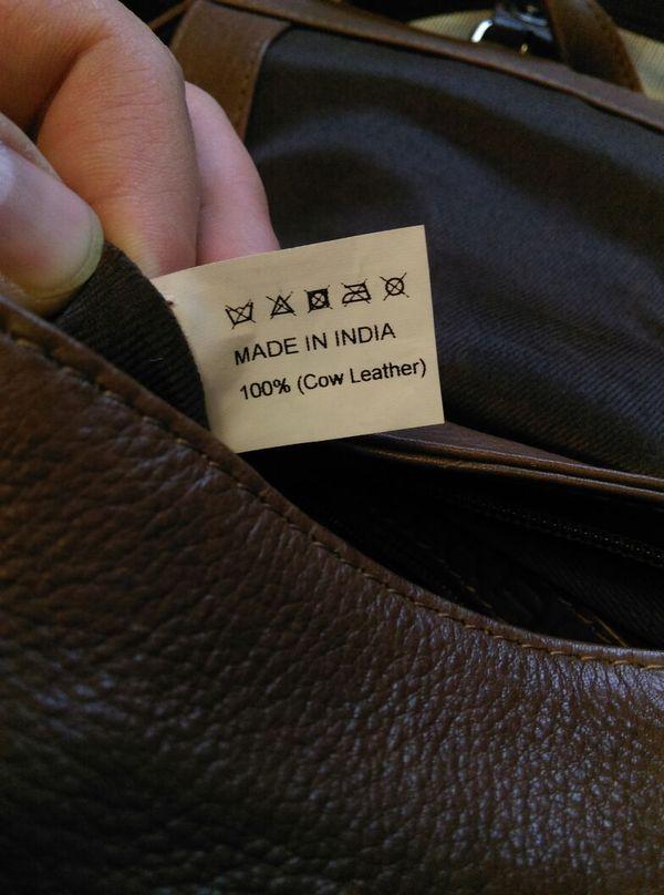 Куда катится этот мир?! Мужу подарили сумку, пошитую из коровы...индусами...