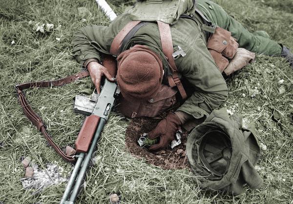 Моя колоризация. Солдат, Вторая мировая. США. Колоризация, Фотография, Цветное фото, Солдаты