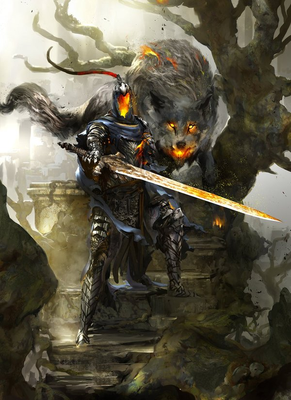 Artorias the Abysswalker & Sif, the Great Grey Wolf