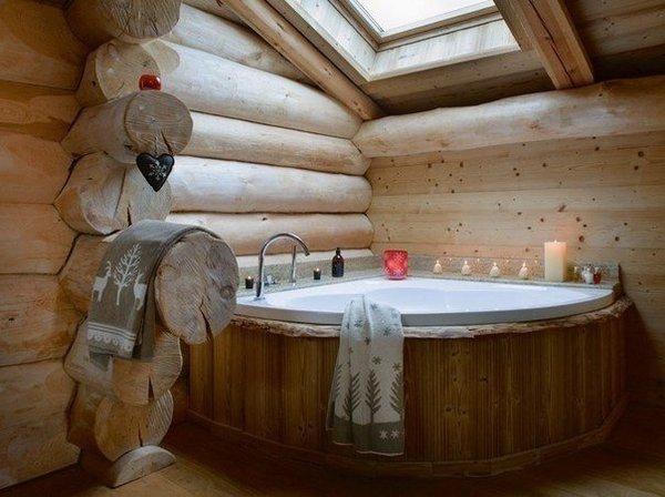Идея для ванной в деревянном доме