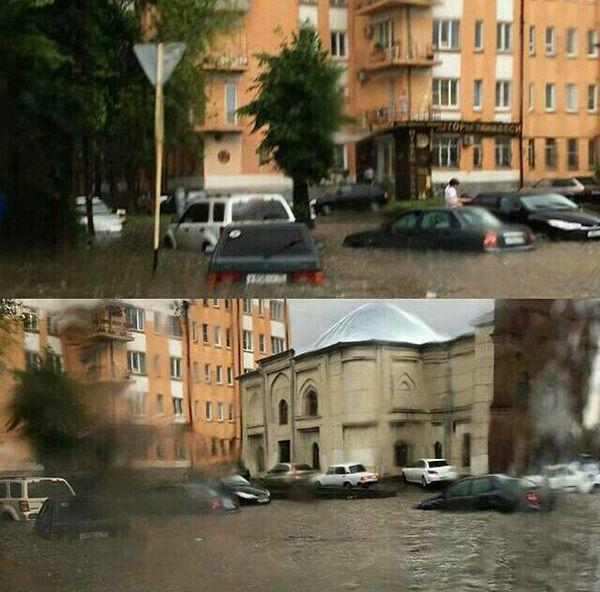 Сегодня во Владикавказе прошел небольшой дождик Дождь, Владикавказ, погода, российские дороги, видео, длиннопост