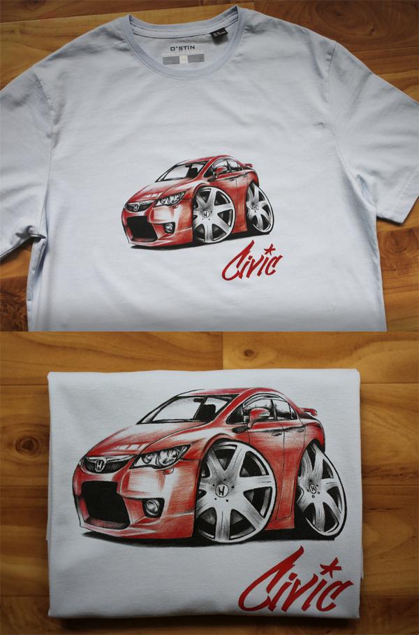 Друг попросил нарисовать Хонду Civic на футболке. Вот результат
