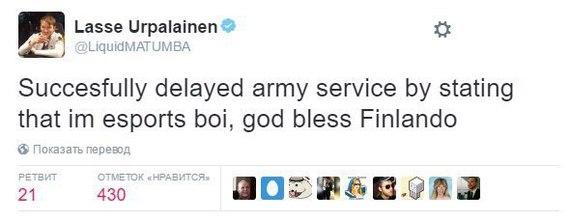 Финляндия Финляндия, Киберспорт, Армия, Закон, Twitter