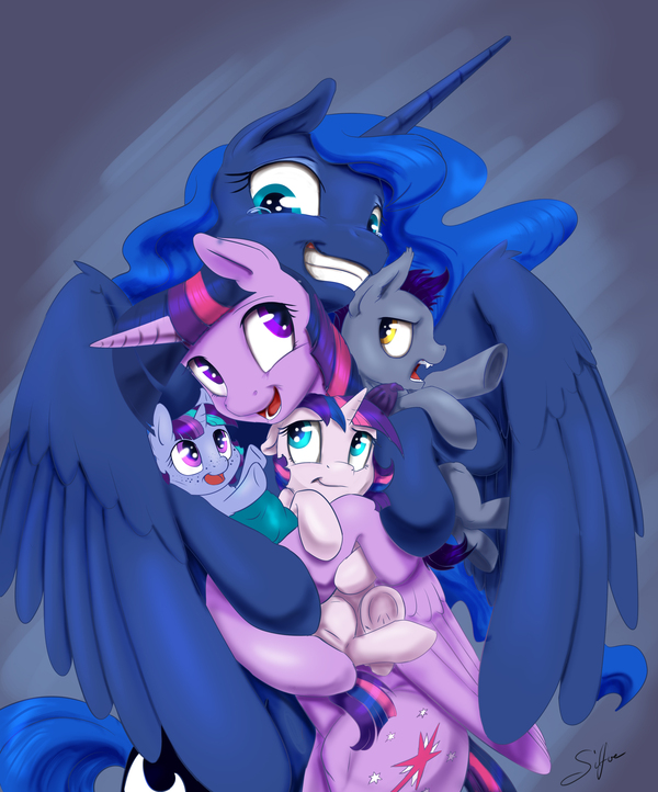 Семейные обнимашки My little pony, Princess Luna, Twilight Sparkle, Шиппинг, Ponyart