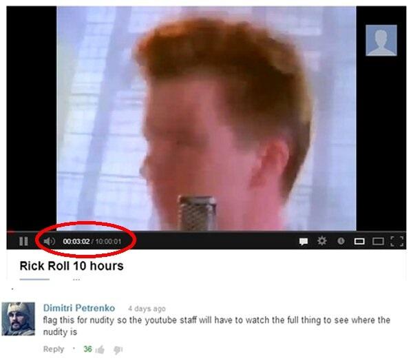 Кто-то будет гореть в аду... Rick Roll, Rick Astley, Youtube, Тролль, Жалоба