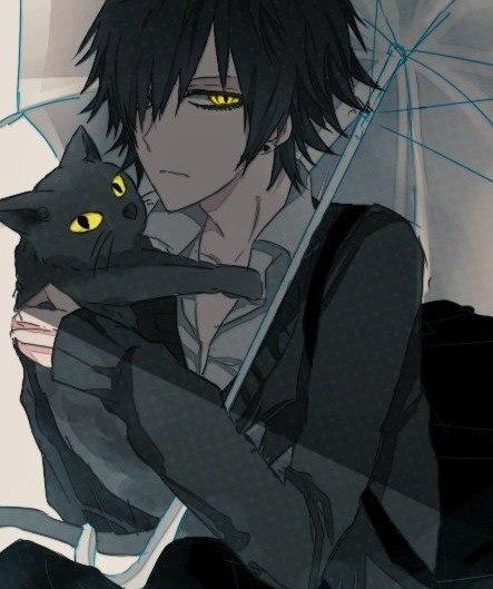 Аниме парень с черным котом