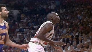 Самый знаменитый лэй-ап Майкла Джордана NBA, Баскетбол, Майкл Джордан, Гифка