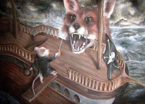 Лисы в лодке. Лиса, Фыр, Лодка, Длиннопост