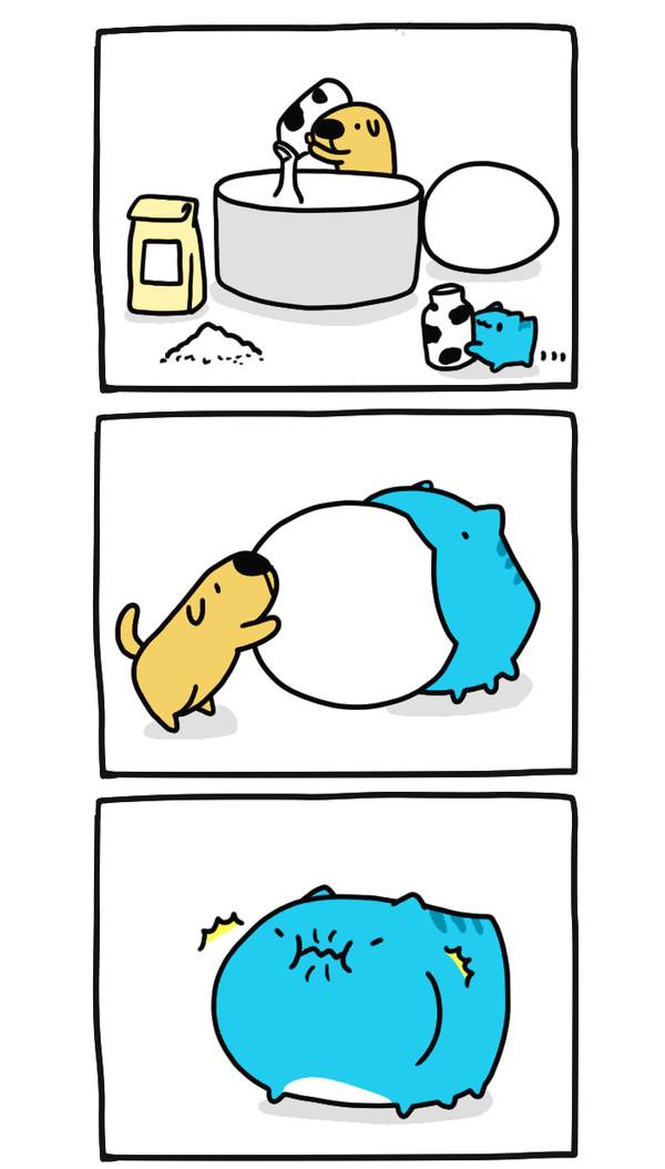 Рецепт от Капу! Bugcat-Capoo, Бракованный кот, Кот, Комиксы, Рецепт, Пудинг, Собака, Еда, Длиннопост
