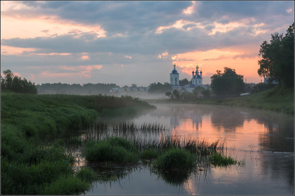 Рассвет на реке Россия, Природа, Ивановская область, Рассвет, Монастырь