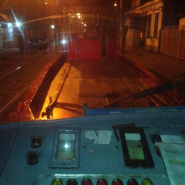Вид из кабины Краснодар, Трамвай, Работа, Длиннопост