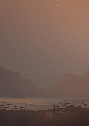 Пиксельный рассвет (или закат) Pixel Art, Иллюстрации, Арт, Рассвет, Поле, Гифка