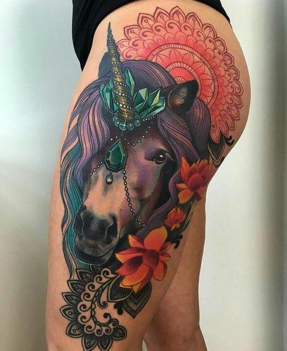 realistic unicorn tattoo - 736×920