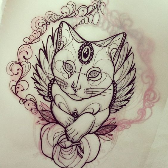 Эскиз татуировок кот