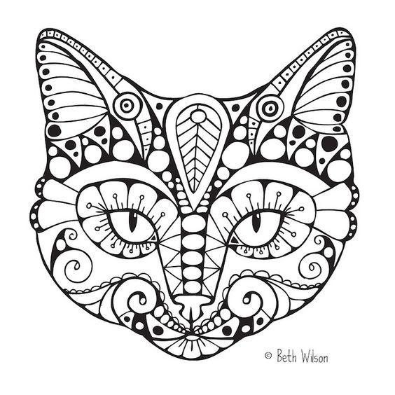 Эскиз татуировки кот