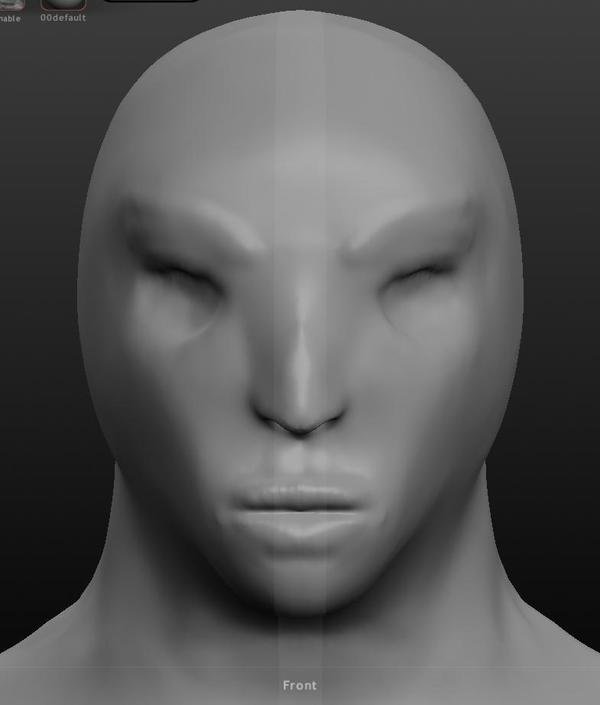 Попытка сделать женское лицо 3d моделирование, Blender, Sculptris, Лицо, Длиннопост