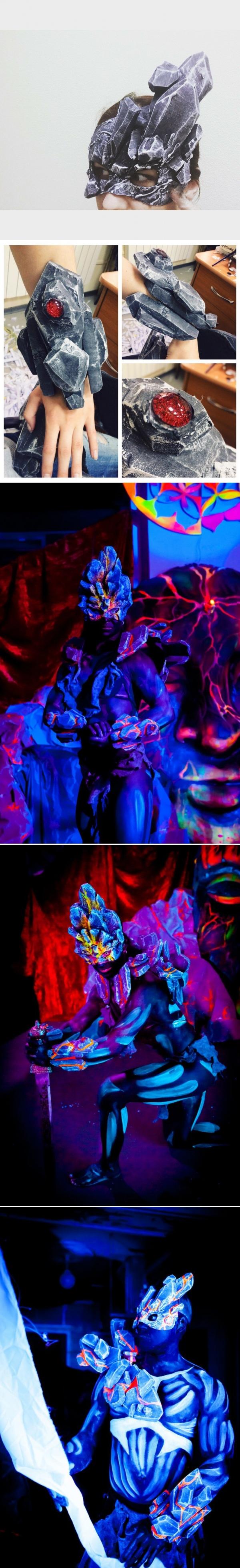 Мои маски и элементы костюма для Титанов. Маска, Бутафория, Костюм, Шоу, Флуоресценция, Ручная работа, Litmade, Имитация камня, Длиннопост
