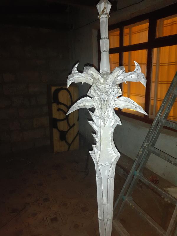 Меч Фростморн своими руками Pepakura, Своими руками, Ледяная скорбь, Меч, Длиннопост