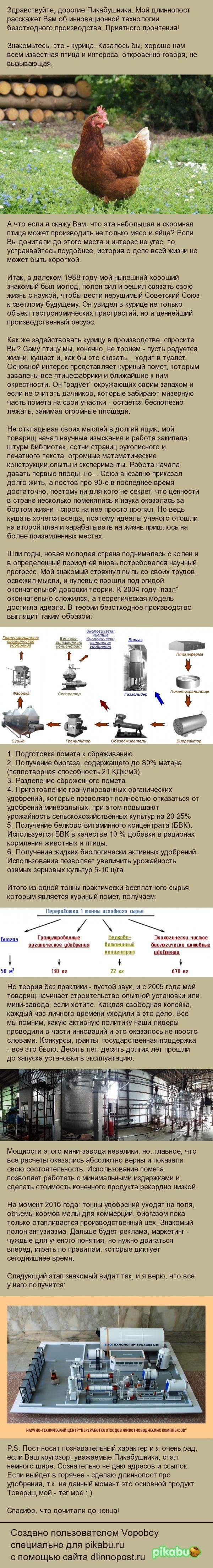 Дело всей жизни или биотехнологии будущего наука, технологии, Россия, длиннопост, биогаз, газ, курица, Навоз