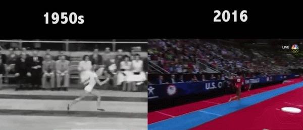 Гимнастика тогда и сейчас гимнастика, 60-е, олимпийские игры, гифка
