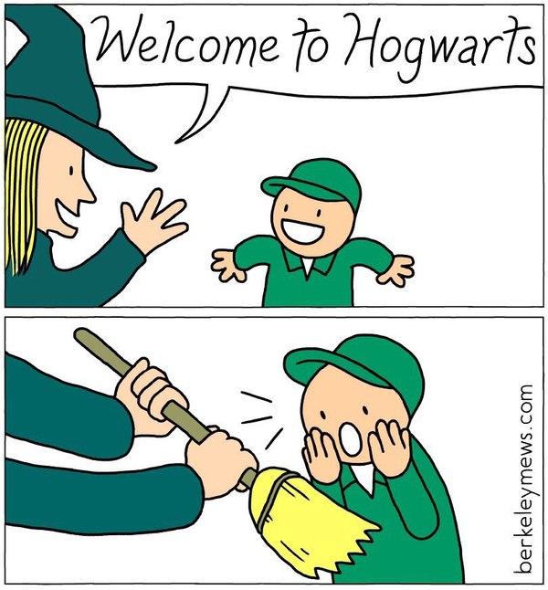 Магия для взрослых Гарри Поттер, Хогвартс меняет людей, Уборка, Метла, Юмор, Жизнь, Комиксы