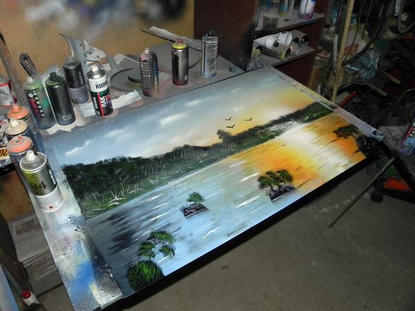 Spray art и попытка сделать пейзаж Арт, Пейзаж, Spray art, Spacepainting, Рисунок, Картина