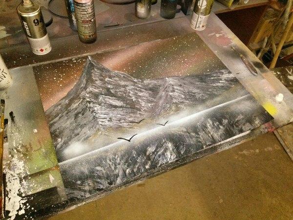 Spray art и попытка сделать отражение